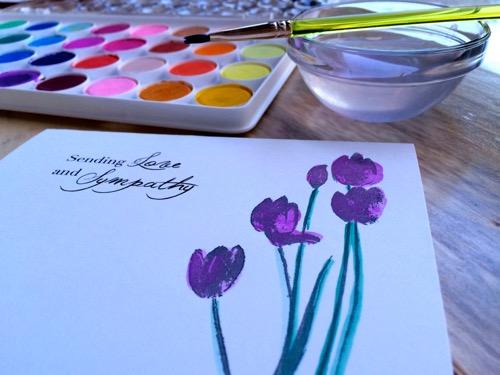 52 Weeks of Mail- Week 13  Sympathy Card 3 Water Color Tulips