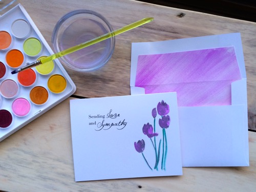 52 Weeks of Mail- Week 13  Sympathy Card 5 Water Color Tulips