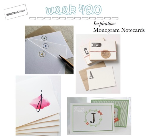 52 Weeks of Mail: Week 20 Inspiration Monogram Notecard