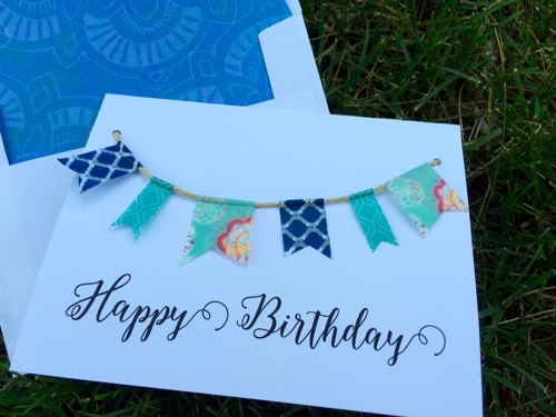 52 Weeks of Mail: Week 24 Birthday Cards 4 Banner Bunting Card Washi Tape