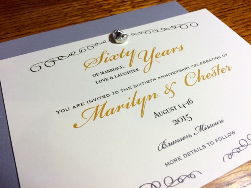52 Weeks of Mail: Week 28   60th Wedding Anniversary Invitation 1