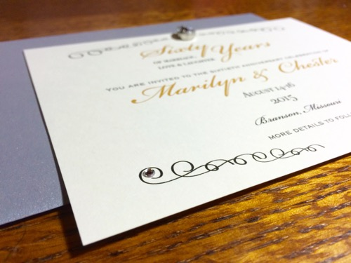 52 Weeks of Mail: Week 28   60th Wedding Anniversary Invitation 2