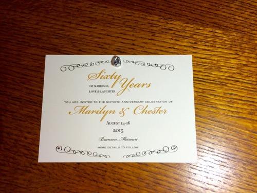52 Weeks of Mail: Week 28   60th Wedding Anniversary Invitation 3