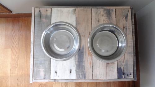 Rustic Dog Bowl Stand Food Storage 2