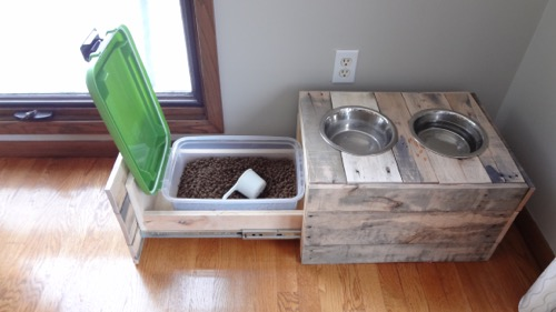Pallet Wood Dog Bowl Stand Food Storage Handmade On Half Street