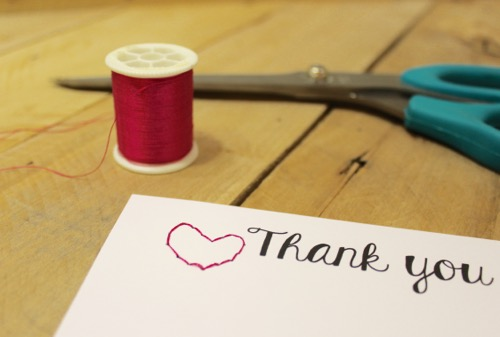 52 Weeks Of Mail- Week 39 Feature Photo | Pink Threaded Heart Thank You Note card