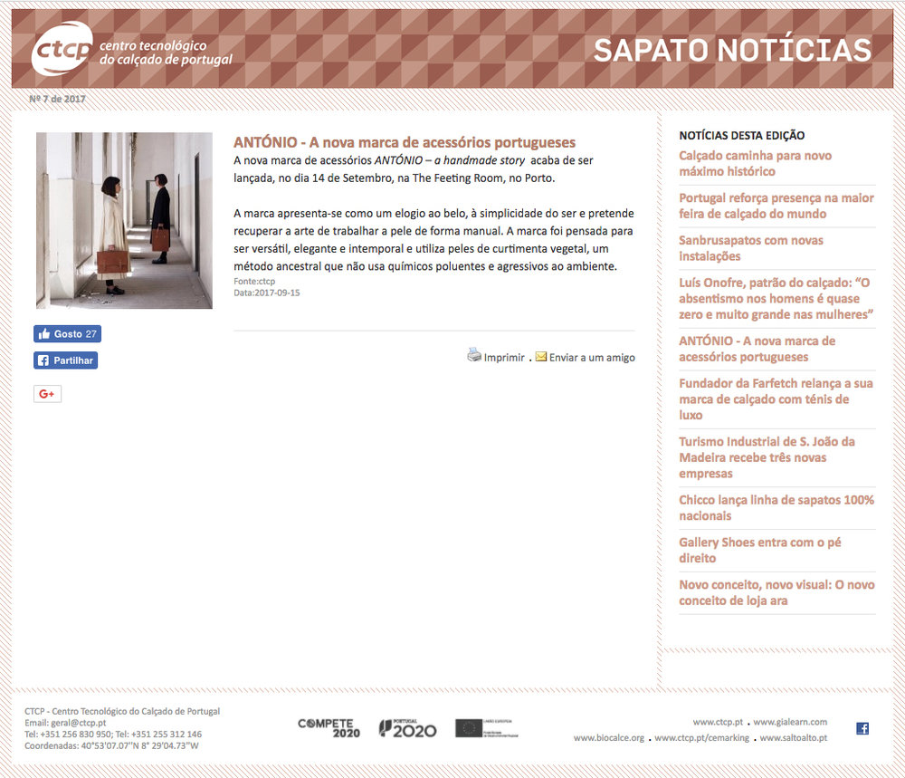 CTCP - António also highlighted in the Technological Center of Portuguese Footwear in the shoe news.