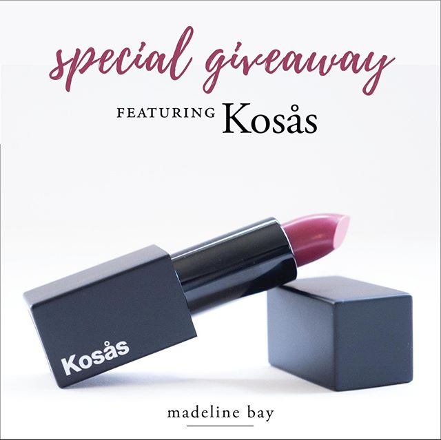 ✨ Special Giveaway Featuring Kosås ✨ # If you caught yesterday's blog post, you'll know how much I've loved my first purchase from @kosascosmetics. So much so, that I've decided to give the Kosås lipstick in Royal to one lucky winner! # 🌿To Enter 🌿 1️⃣ Like this Post 💕 2️⃣ Follow me @madelinebayofficial 3️⃣ Tag 3 friends! 💋 Optional: Share in your stories and tag me for an extra 10 entries! # *️⃣ Disclaimer: Contest starts Tuesday, December 4th and ends on Thursday, December 13th. The winner will be chosen at random and announced here and on stories. This contest is open to the U.S. only. This giveaway is not sponsored or affiliated with Instagram. . . . . . #madelinebayapproved #kosascosmetics #kosas #kosaslipstick #cleanbeautyproducts #cleanbeautylipstick #greenbeautyblog #womenwhoinspire #cleanbeautybloggers #greenbeautybloggers #naturallife #greenliving #ecobeauty #greenbeautylover #bestofgreenbeauty #tbogb @bestofgreenbeauty #bblogger #greenbeautygiveaway #giveawaycontest #freemakeup #cleanbeautygiveaway #greenbeautycontest #ecobeautygiveaway #beautygifts #giftofbeauty #christmasgiveaway #freebie #christmassurprise #discoveryunder1k #discoveryunder10k