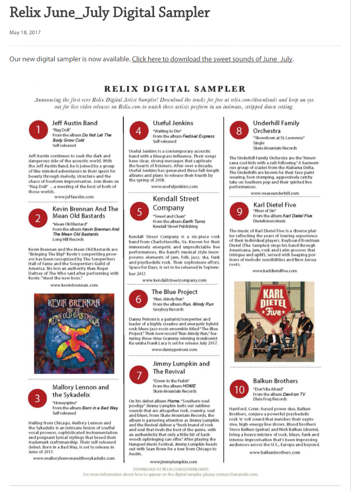 """Big thank you to Relix Magazine for featuring us on their first ever digital download sampler. We will be heading to Brooklyn, NY to record a video of our featured song, """"Honeyspine,"""" at the Relix Studios in Early October. Make sure to grab a copy of the June/July issue of Relix now!"""