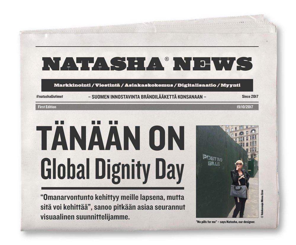 Natasha Varis twiittasi tämän sanomalehtikuvan kansainvälisenä omanarvon tuntopäivänä 19.10.2017 #GlobalDignityDay