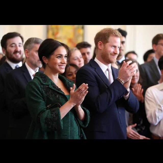 It was a pleasure performing for the Duke and Duchess of Sussex in London this morning! I think we were all more star struck about Megan than Harry 😍 lol - here's a photo of them clapping after our performance. // Thank you so much @varcticfashion for allowing us to showcase your beautiful work! We felt absolutely gorgeous and confident in them. I've never felt so beautiful in a dress like that 😍