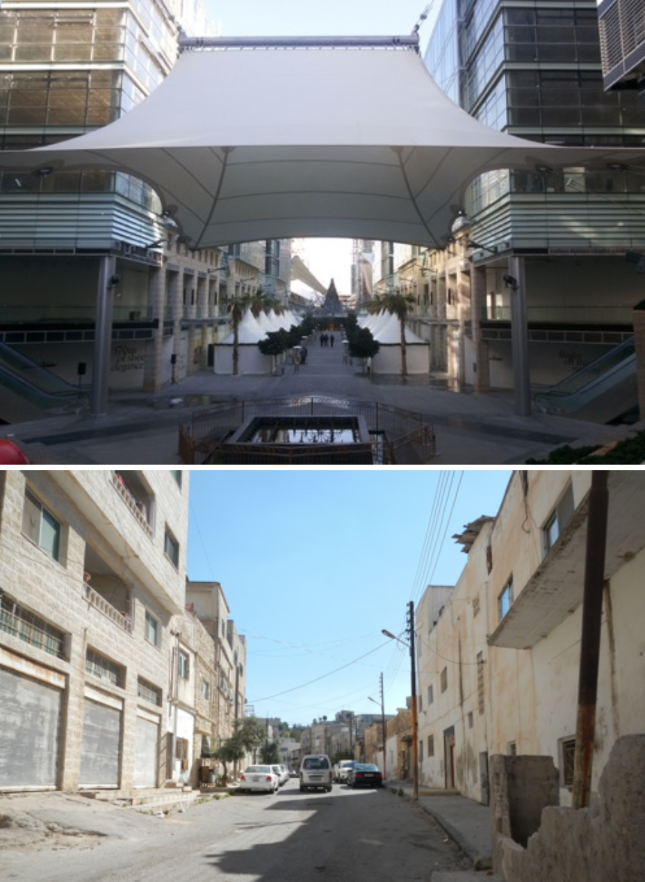 Amman's Boulevard shopping district (above) compared to the simpler look and feel of Irbid (below).