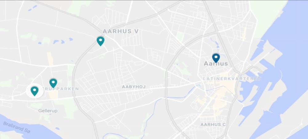"The three ""ghetto"" neighborhoods of Aarhus in light blue, city center in dark blue: (from left to right): Børnehaven Skovgårdsparken, Gellerupparken, and Bispehaven"