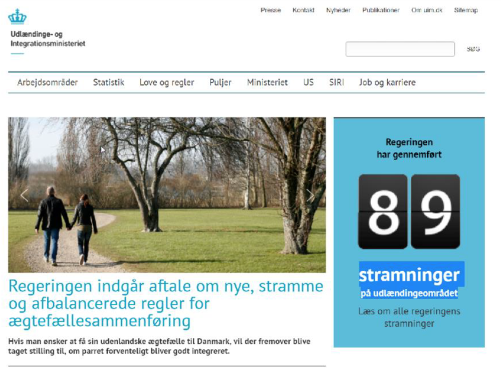 The landing page of the Danish Ministry for Integration as of June 2018.