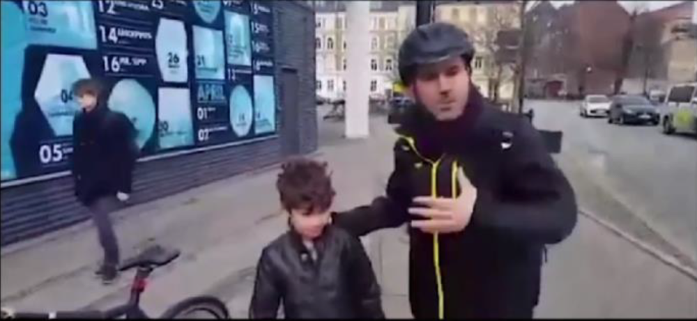 Screenshot of me explaining to my family how people commute on bicycles in Aarhus. Click the photo to view the video.