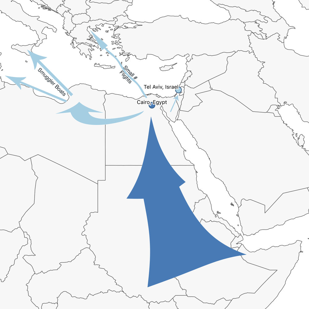 Dark blue indicates primary migrations. Light blue indicates secondary migrations.