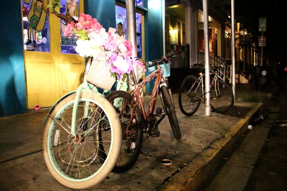 Bicycle outside on Frenchman Street