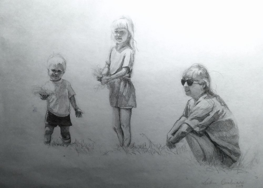 Stephy, Nicky, and me in a meadow, pencil