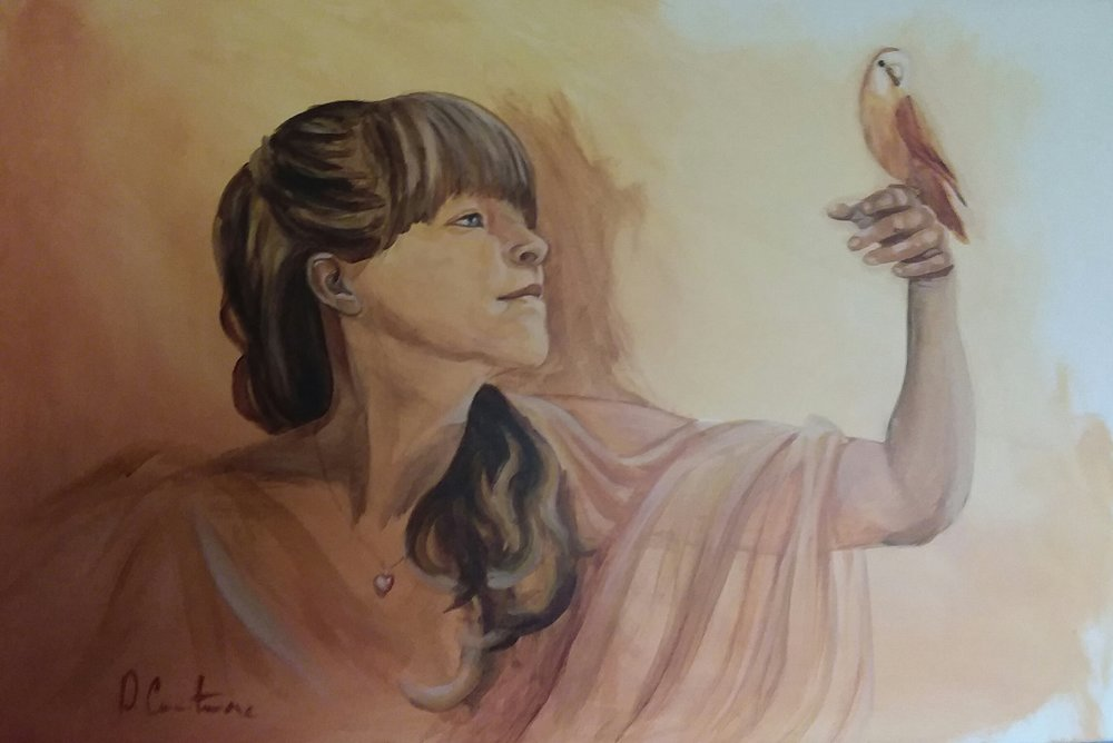 "24 x 48 x 2 Acrylic Portrait, ""Anne with Jasper"""