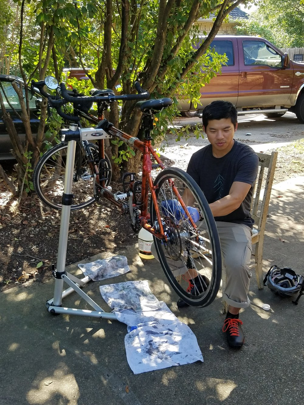bike cleaning and re-sizing of the tandem