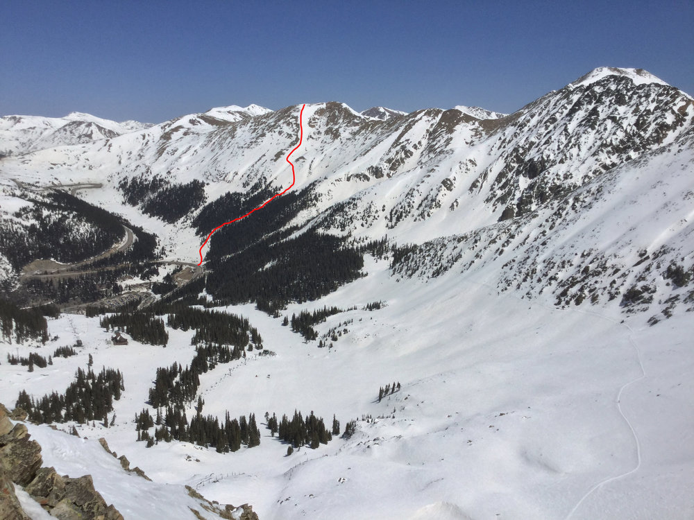 Dave's Wave (in red) taken from the summit of A-Basin ski area.     Photo: Owen Wilkins