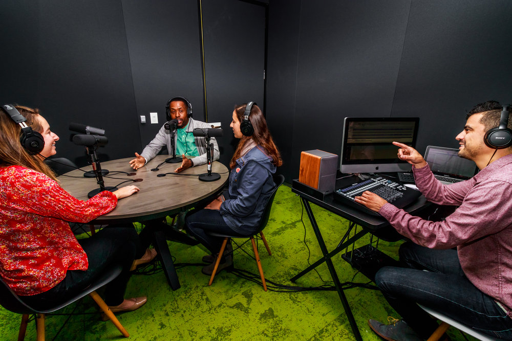 The podcast studio at Village Workspaces
