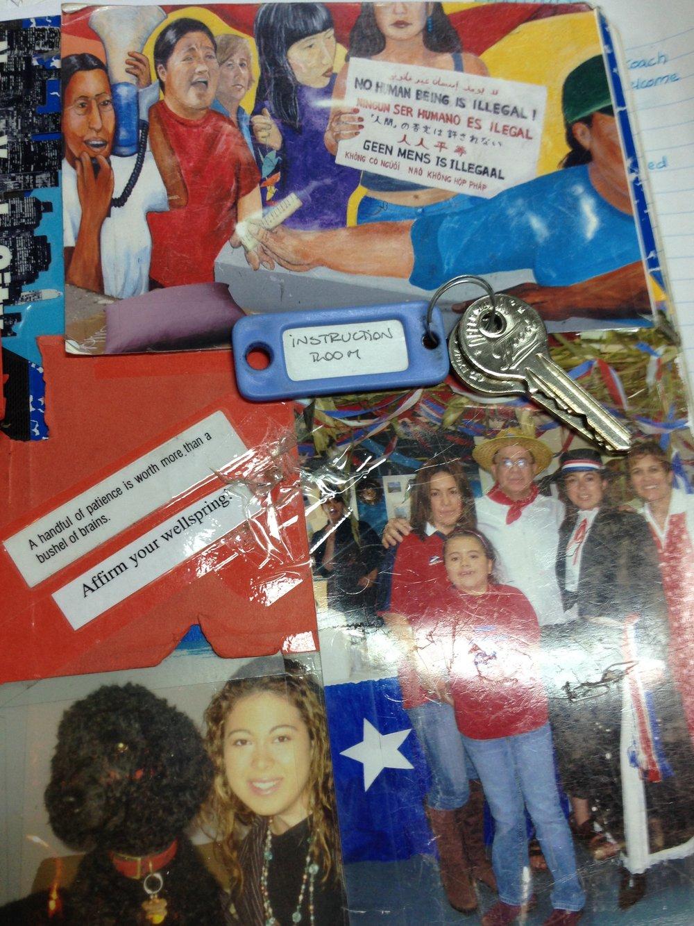 cuaderno de escritura (uno de varios) personalizado con fotos y palabras que tienen gran significado para mi (también con llaves que me prestaron por el día en un colegio) / personalized writing notebook (one of many) with meaningful pictures and words (also with keys that I had for a day at a school)