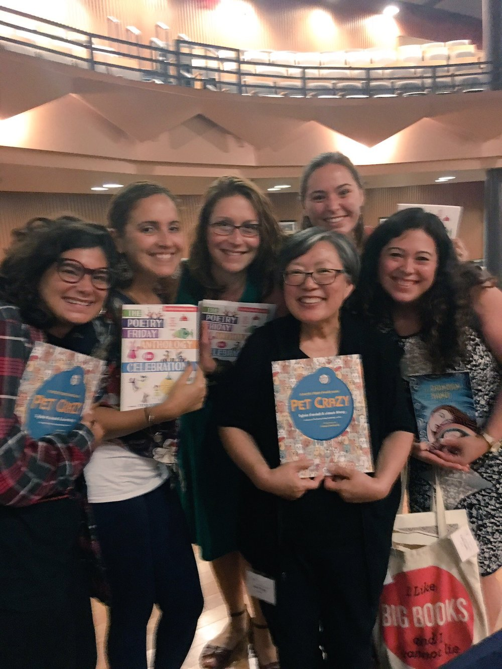 Teacher Love, Poetry Love, Book Love, Janet Wong Love! Friends and Hunter College students, instructors & alumni with the biggest smiles holding some amazing texts!