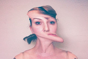 Picture of artist Sierra True Siemer, manipulated data distorted the image