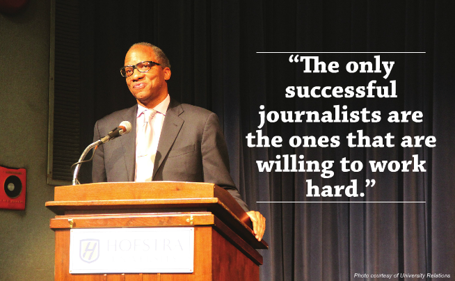 Wil Haygood spoke to Hofstra students about the story chronicled by the Oscar-nominated film, The Butler. Photo courtesy of University Relations.
