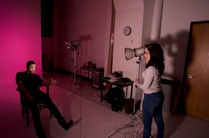 """Alvia Urdaneta shooting Matt Aponte on set for her show """"Murder She Wore"""""""