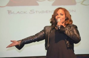 "Free, past host of BET 106 and Park and RIP Michaels, comedian and cast member of ""Wild n' Out,"" took the stage at the BSU Unity Showcase. Photo courtesy of Joelle Oliver"