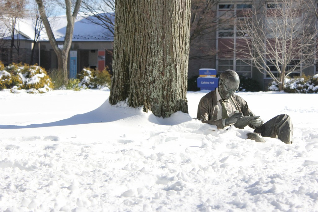 Hofstra was covered with snow this weekend after the storm hit the Northeast. Photo by Zach Mongillo/The Chronicle.