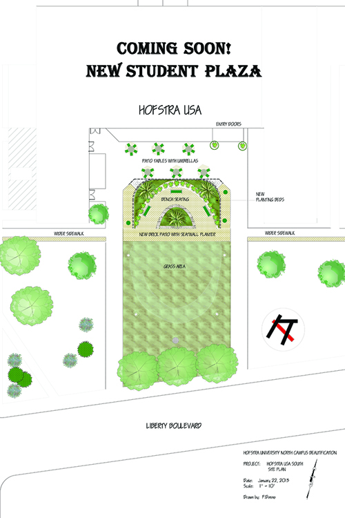 Hofstra's plans for HofUSA's plaza renovations. Photo courtesy of Hofstra's Landscape Designer, Patrice Dimino.