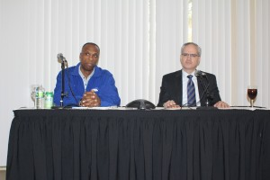 Interim head men's basketball coach Patrick Sellers (left) and Vice President and Director of Athletics Jeff Hathaway (right) discussing the departure of Mo Cassara and the future of the men's basketball program at a press conference on Friday.