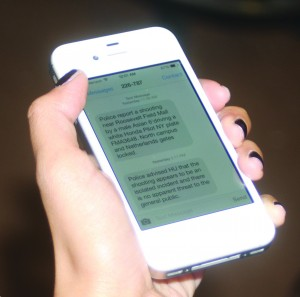 Students received text notifications via CANN with updates on campus security on Wednesday. Photo by Jake Nussbaum.