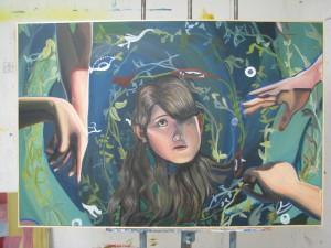 """Japanese horror film """"House"""" inspired painting"""