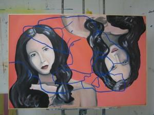 """House"" painting with artist Castoria's signature contour lines"