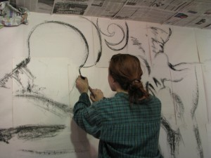 "Deiner's exhibit ""Dream out Loud"" just two hours before the gallery opening"