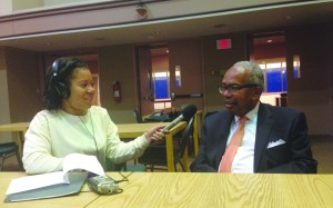 Ernest Green spoke at Hofstra on Tuesday about his experience being one of nine African American students to attend the Little Rock high school in Arkansas. He spoke with a member of student media before the event, Jeanine Russaw, pictured above. Photo by Briana Smith