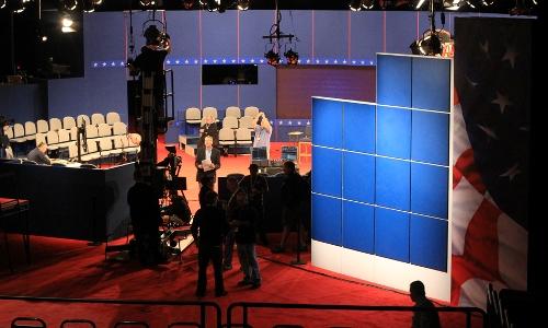 Inside the debate hall at Hofstra University.