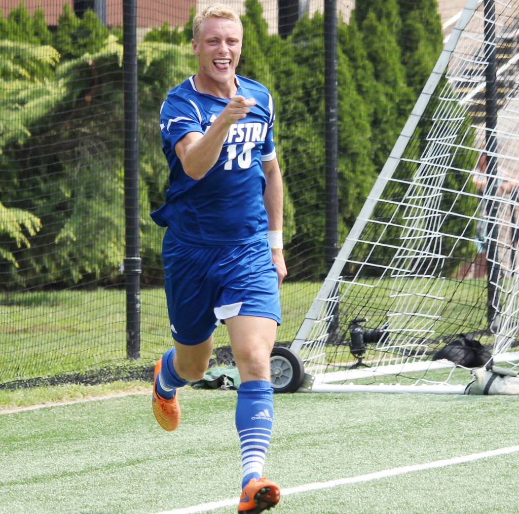 Cam Keoughi/The Chronicle - Hofstra Men's Soccer's Joseph Holland's game-winner was his sixth goal of 2015.