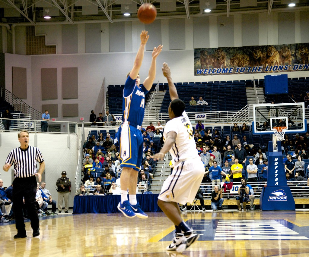 Chris Owens/The Chronicle Brain Bernardi led the Pride with 26 points, going 8-for-11 beyond the arc, in Hofstra's season opener