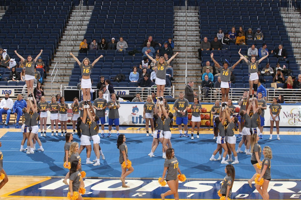 Hofstra's cheerleaders and dance team members pump up the crowd at Midnight Madness. (Photo courtesy of Hofstra Athletics)