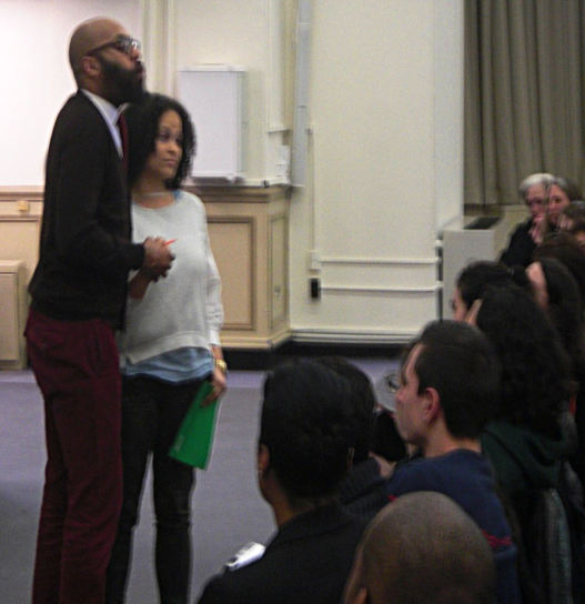 Dr. Christopher Emdin and educator Janice Johnson perform cypher at NYCWP conference. Photo by Leonel Henriquez.