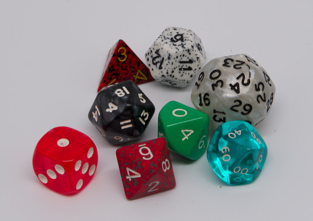 A set of role-playing dice. Photo courtesy of Wikimedia Commons.