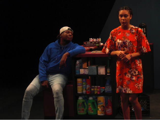 Devaun (Mark Robinson) and Indira (Erica Peña) discuss dating.  Photo by Leonel Henriquez.