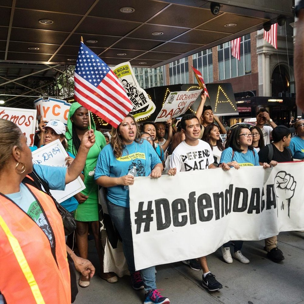 Dreamers and DACA supporters march in an event organized by Antonio Alarcon to protest against the elimination decree. Photo courtesy of Lidiya Kan.