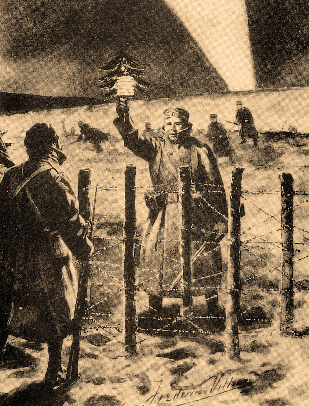 Illustration of the Christmas Truce