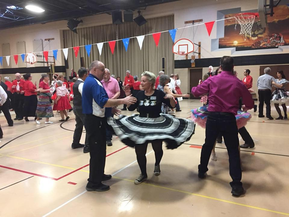 Kelly and Gunilla dancing up a storm at MCASD's 57th Annual Sweetheart Dance, 2/19/2017, at Trinity Lutheran Church in Roselle